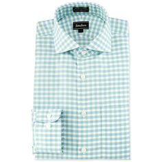 Neiman Marcus Classic-Fit Non-Iron Check Dress Shirt ($26) ❤ liked on Polyvore featuring men's fashion, men's clothing, men's shirts, men's dress shirts, green, mens green dress shirt, mens checkered dress shirts, mens checked dress shirts, men's no iron shirts and mens cotton shirts