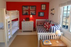 Selsey Beach House, West Sussex. Love this scheme - great way to decorate a Bedroom. Would appeal as a guest room, kids room etc, etc. Red, white and blue Britannia rules the waves theme ties in with beach side location and is bold without being overpowering. Good job.  House from Unique Homes Stays.