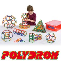 Polydron Frameworks Class Set - 310 Pieces 10-3031F.   Ideal for larger groups and classrooms, this 310 piece set contains 40 Pentagons, 80 Squares, 160 Equilateral Triangles, 30 Hexagons, an Exploring Booklet and a Gratnells Tray.  Age 6+. Each square piece measures 7.5 x 7.5cm.