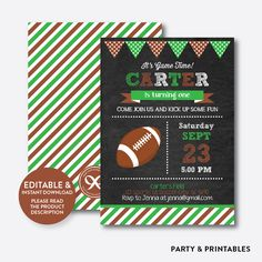 American Football... http://partyandprintables.com/products/american-football-chalkboard-kids-birthday-invitation-editable-instant-download-ckb-79c?utm_campaign=social_autopilot&utm_source=pin&utm_medium=pin #partyprintables #birthdayinvitation #partysupplies #partydecor #kidsbirthday #babyshower