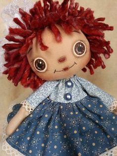 Handmade Primitive Raggedy Ann Doll Annie & Andy Print Cotton Lace Dress