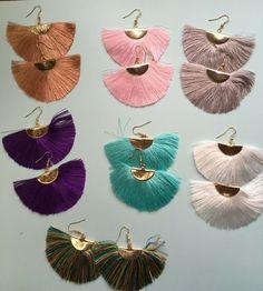 Silk Thread Earrings, Long Tassel Earrings, Fish Hook Earrings, Moon Earrings, Fringe Earrings, Grad Gifts, College Gifts, Teacher Gifts, Monogram Jewelry