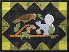 Bird & Squirrel Wool Table Mat -  Wool Applique Patterns - Fall - Autumnn Decor - September #1329 by SimplyUniqueBySheila on Etsy