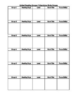 Guided Reading Binder schedule