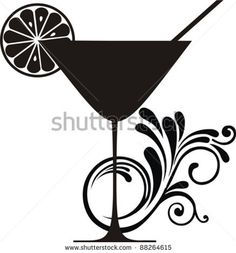 Silhouette isolated on White background. Drink Menu or Invitation for Parties and Showers. Vector illustration by Kalenik . Flower Silhouette, Silhouette Design, Stencil Painting, Stenciling, Cocktail Drinks, Vintage Cocktails, Wood Burning Patterns, White Prints, Stencil Patterns