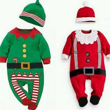 2016 Christmas Baby Rompers Costume Kids Newborn Clothes Long Sleeve Spring Children Infant Clothing Stop+Hat Baby Girl Clothes(China (Mainland))