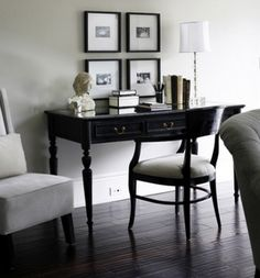 Trendy home office design elegant black and white Black Furniture, Classic Furniture, Furniture Design, Painted Furniture, Home Office Design, Home Office Decor, House Design, Home Decor, Office Ideas