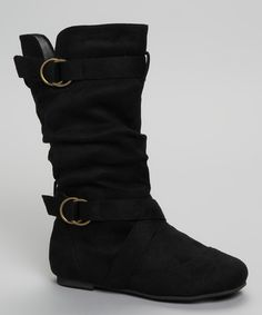 Black Buckle Kali Boot #zulily #fall    at $20.99, I am super tempted to get these and save them for next year....