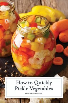 How to Quickly Pickle Vegetables The Best Vegetables to Pickle! - Step-by-step instructions on how to quickly pickle vegetables for salads, sides and any dish that needs a little pick me up + the best vegetables to pickle! Fermentation Recipes, Canning Recipes, Canning Tips, Vegetable Prep, Vegetable Recipes, Mixed Vegetables, How To Pickle Vegetables, Pickling Vegetables, Spicy Pickled Vegetables Recipe