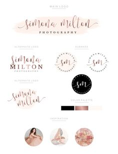 Branding Kit, Branding Package, Premade Logo, Watercolor Logo, Rose Gold Logo…