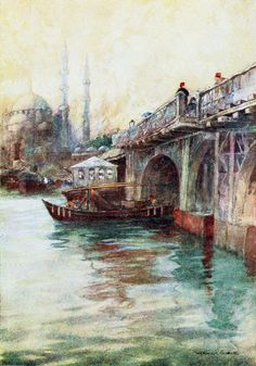 """'The Galata Bridge' from """"Constantinople painted by Warwick Goble"""" (1906)"""