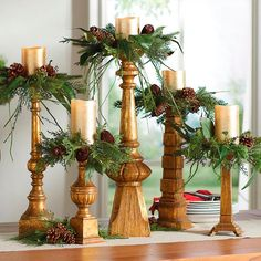 Candle holders for mantel. Place them asymmetrical on the mantel for added interest. Natural Candle Rings, Set of Five to be used October - February