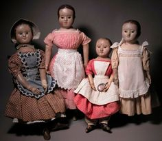 An wonderful grouping of four Izannah Walker dolls from Mary Ann Spinelli's site.
