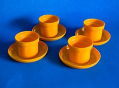 GDR Canary Yellow Plastic Egg Cups  Vintage Retro by FunkyKoala