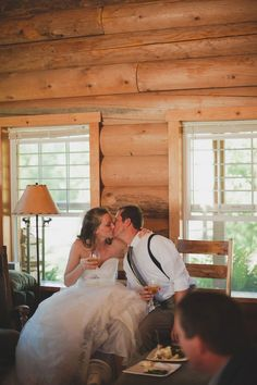 Mariella and Kyle's 11 Guest reception in the log cabin dining room. See their gorgeous photos by Adrien Craven here.. @intimateweddings.com  #receptions #realweddings
