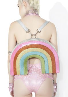 Club Exx Neon Sparkle Rainbow Backpack no one can rain on yer parade, bb. Shine brighter than da sun with this supa adorable backpack that features a sparkly rainbow shape, removable shoulder straps, a top zipper closure, and a roomy interior fer all yer essentialz.