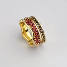 Row of Sapphires square gold ring stacking by BermanDesigners