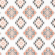Pre Order Now Neon Coral Black Navajo Ethnic Cotton Jersey Blend Knit Fabric by annabannacrafts on Etsy