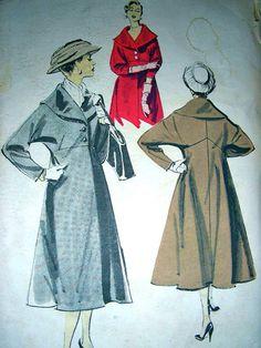UNCUT Vintage Advance Sewing Pattern 8121 -  BEAUTIFUL EMPIRE Line Coat - Size 14 Bust 34