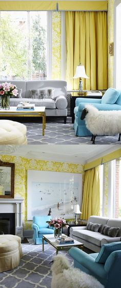 tying in the dining room (grey/ yellow), living room (slate blues), sitting room (grey, yellow, pops of blue)