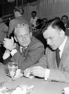 Spencer Tracy and Frank Sinatra at the MGM studio luncheon on February 10th, 1949
