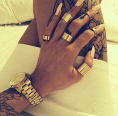 Discovered by Girly Things. Find images and videos about nails, tattoo and gold on We Heart It - the app to get lost in what you love. Nail Ring, Watch Necklace, Glitz And Glam, Ring Earrings, Swagg, Girly Things, Lovely Things, Hair And Nails, Tatting