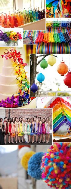 Rainbow event decor - this idea board is used for a wedding (note the bridesmaid dresses) but could easily be used for a birthday party or other social event. Unique Wedding Colors, Wedding Themes, Unique Weddings, Our Wedding, Dream Wedding, Wedding Ideas, Rainbow Wedding Decorations, Wedding Rustic, Wedding Poses