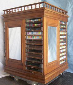 Rare Large Revolving Spool Cabinet, BRASS LANTERN ANTIQUES