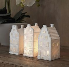 Arrange under a glass cloche with battery-powered lights) to make a little snow scene