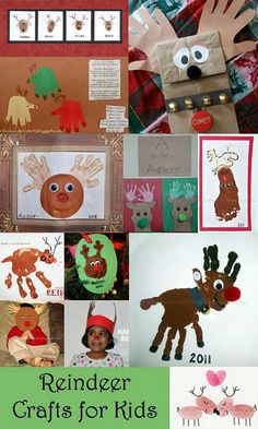 Kids Christmas Crafts: Handprint & Footprint Reindeer and other handprint crafts