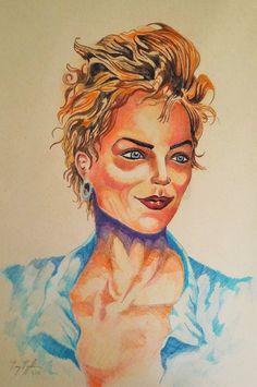 """Sharon Stone"", colour pencil on paper, 31x41cm, 2016"