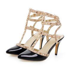 Studded Gladiator Sandals Women Pumps High Heels Party Spike Shoes Woman de37a1e66