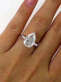 GIA 2.96CT ANTIQUE VINTAGE OLD EURO PEAR DIAMOND ENGAGEMENT WEDDING RING PLAT