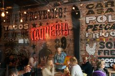 Taqueria is a Mexican restaurant and mezcal bar located inside high end department store Paleet in downtown Oslo. Mexican Restaurant Design, Mexican Bar, Taco Restaurant, Mexican Restaurants, Restaurant Ideas, Restaurant Interiors, Cafe Bar, Ceviche, Taco Shop