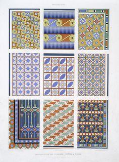 Architecture: ornementation des plafonds : postes et fleurs (nécropole de Thèbes -- XVIIIe. à XXe. dyn.)