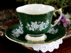 Aynsley Tea Cup and Saucer, English Teacup, Dark Green, White Rose Overlay 14092