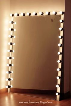 DIY Hollywood style mirror with lights