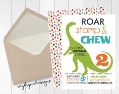 Roar, Stomp & Chew! Our little dinosaur is turing 2!| Dinosaur printable…