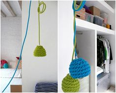 crocheted lamp covers - a colorful detail for a children room.