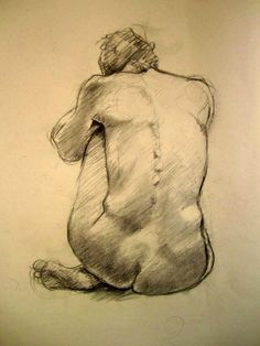 Life Drawing Charcoal on Paper by P Downing