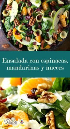 Salad with spinach, tangerines and nuts for Christmas faciles gourmet de cocina de postres faciles pasta saludables vegetarianas Vegetable Recipes, Vegetarian Recipes, Cooking Recipes, Healthy Recipes, Healthy Salads, Healthy Eating, Bo Bun, Clean Eating, Ketogenic Diet Food List