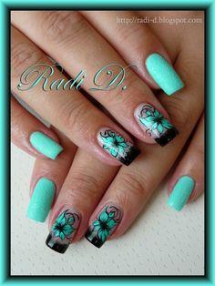 seafoam green nails (love this color! Great Nails, Cute Nail Art, Fabulous Nails, Hot Nails, Hair And Nails, Super Nails, Flower Nails, Black Nails, Spring Nails