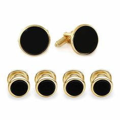 Asstd National Brand Formal Onyx Set of 4 Shirt Studs and Cuff Links #OnyxSets