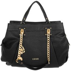 LIU JO Shopping L Mosquito Nero in black, Shoulder Bags ($195) ❤ liked on Polyvore featuring bags, handbags, shoulder bags, black, purse shoulder bag, genuine leather purse, leather handbag purse, man bag and man shoulder bag