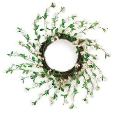 "Pack of 2 Green and White Flowered Field Blossom Decorative Wreaths 24"" - Unlit by Melrose. $142.99. Flowered Spring Decorative WreathsItem #46457Each spring wreath is decorated with dainty green and white elegant flowers arranged in a spiral shape Flowers attach to a brown twig baseUnlitDimensions: 24""DMaterial(s): plastic/polyesterPack includes 2 of each item shown"