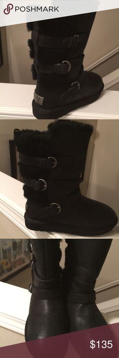NWT Ugg black suede boots 5 Cute black suede authentic ugg leather boots  Black size 5 The boot slides on with no zipper UGG Shoes Ankle Boots & Booties