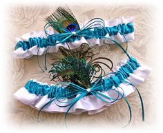 Turquoise peacock wedding garter set, something blue | All4Brides - Wedding on ArtFire