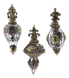 "Katherine's Collection Tapestry Christmas Collection Six Assorted 9"" Jeweled Filigree Finial Ornaments Free Ship"