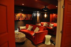 Margaret Lottery Home 2011 THEATRE Now that's a theater room! Just need a popcorn machine--marquee - - yup!Now that's a theater room! Just need a popcorn machine--marquee - - yup! Decor, Home Theater Rooms, Home Entertainment, House Design, Theater Room, Home Theater Decor, Small Room Design, Home Decor, House Interior