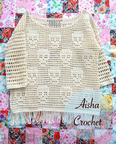 Love her work/designs! Crochet Blouse, Knit Crochet, Crochet Tops, Crochet Fashion, Shrug Sweater, Loom Knitting, Crochet Clothes, Crochet Patterns, Weaving